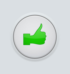 thumb up green button user interface round icon vector image