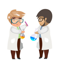 two man chemist with test tubes and flasks glass vector image