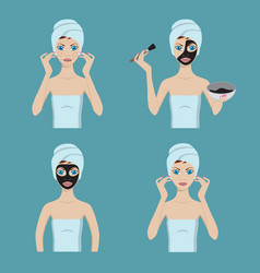 Girl applies cosmetic mask on her face vector