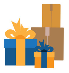 Boxes with gifts in vintage style vector
