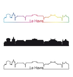 Le havre skyline linear style with rainbow vector