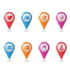 Love location pin mapping marks icons for saint vector image