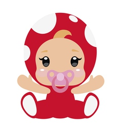 Cute little baby in red mushroom costume vector