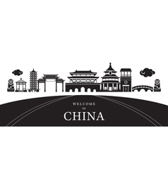 Travel china city silhouette vector