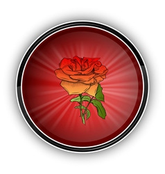 Red rose on the round symbol vector