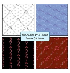 Set seamless pattern curl and flowers vector