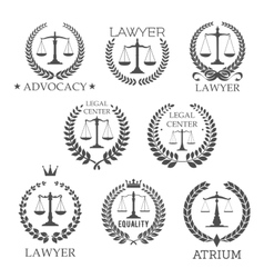 Lawyer and law office icons with scales of justice vector