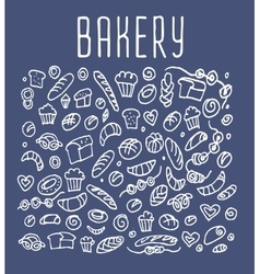 Hand drawn bakery seamless logo background vector