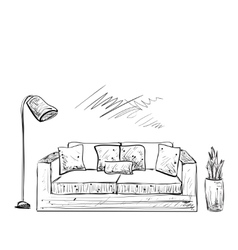 Room interior sketch hand drawn sofa vector