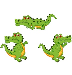 funny crocodile cartoon collection vector image