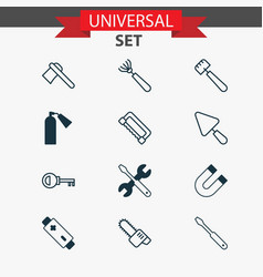 Apparatus icons set with tomahawk putty vector
