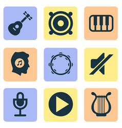 audio icons set collection of timbrel instrument vector image vector image