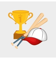 Baseball cup hat bats vector