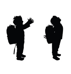 Boy happy silhouette in black color vector