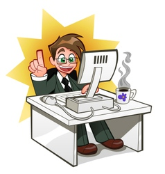 businessman at computer vector image