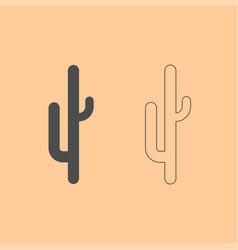 cactus dark grey set icon vector image vector image