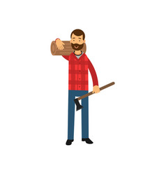 cartoon lumberjack man standing with big log on vector image