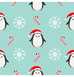 Christmas snowflake candy cane penguin wearing red vector image vector image