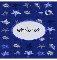 Creatures of sea clams on a dark blue background vector