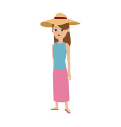 Cute girl tourist travel clothes hat vector