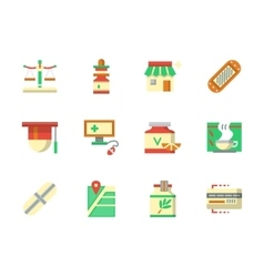 Flat color design chemists shop icons vector