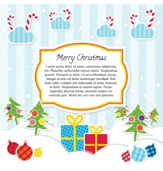 Flat Style Scrapbooking Christmas Background or vector image