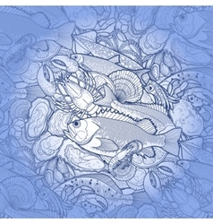 Graphic seafood pattern vector