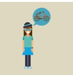 Hipster girl bicycle vintage background icon vector