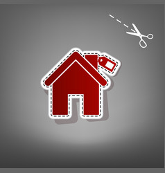 Home silhouette with tag red icon with vector