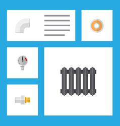 icon flat pipeline set of radiator drain teflon vector image vector image