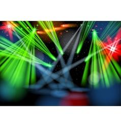 Illuminated empty stage light show vector