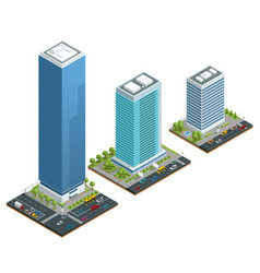 isometric set of city houses composition with vector image vector image