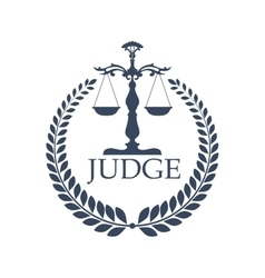Justitia weigher or scales and laurel wreath vector image