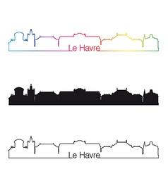 Le havre skyline linear style with rainbow vector