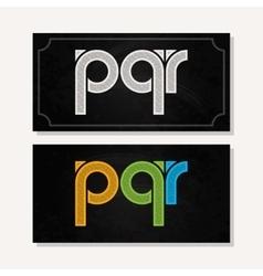Letter p q r logo alphabet chalk icon set vector