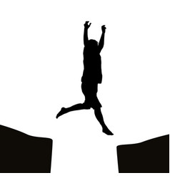 Man jumping over a gap vector