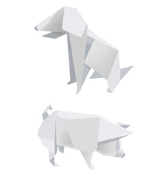 Paper pig dog vector image vector image