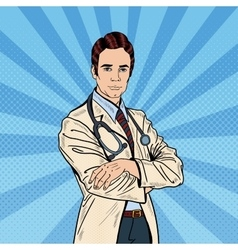 Pop Art Confident Doctor Man with Stethoscope vector image vector image