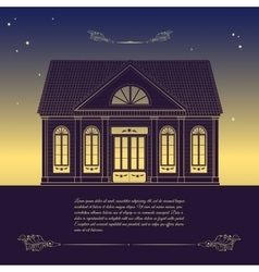 retro with old house floral vector image