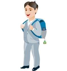 Schoolboy with backpack on a white background vector image vector image