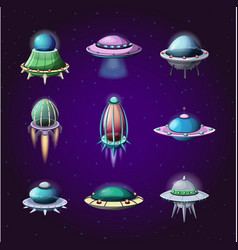 set of cartoon rockets and alien spaceships vector image vector image