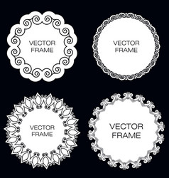 set of four white frame on black background vector image vector image