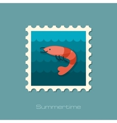 Shrimp stamp Prawn Summer Vacation vector image