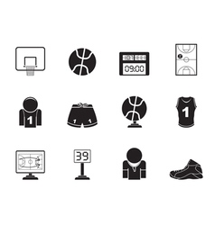 Silhouette Basketball and sport icons vector image