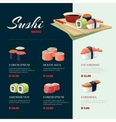 Sushi rolls flat food asia cuisine menu vector