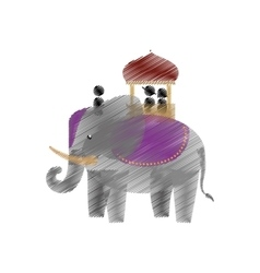 Tourist with elephant indian ride design vector