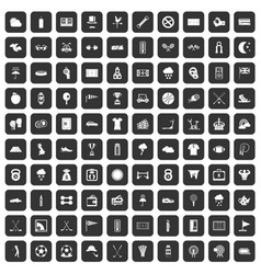 100 golf icons set black vector
