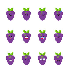 Grape modern flat emoticon set vector