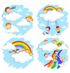 Happy children on fluffy clouds and rainbow vector