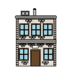 Drawing house two sotry windows chimney image vector